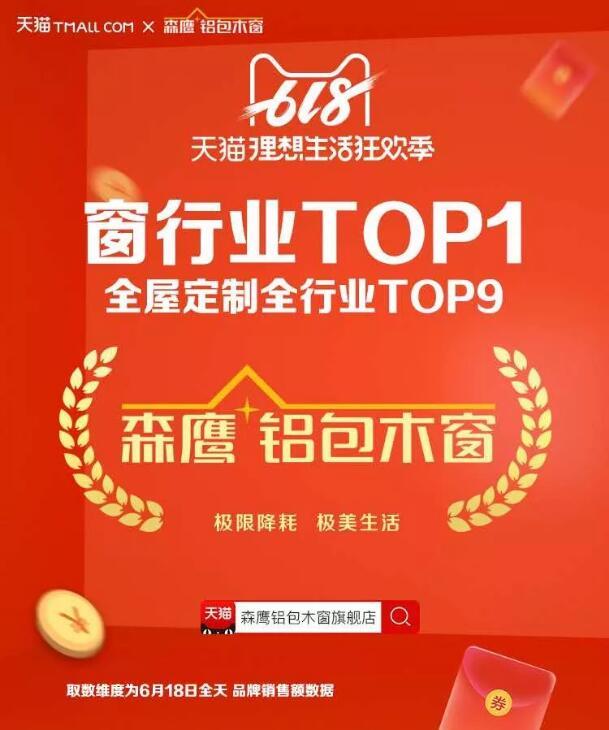 """森鹰窗业荣膺天猫""""618品牌TOP榜""""窗行业第一"""